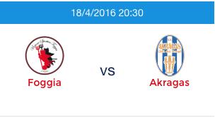 Questa sera Foggia – Akragas