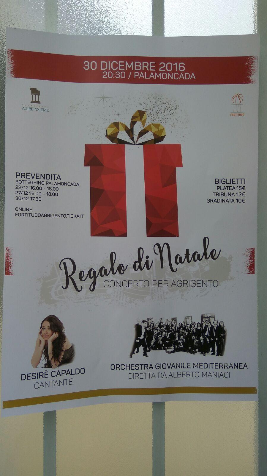 """""""Concerto di Natale-Regalo per Agrigento"""" raggiunge l'obiettivo"""